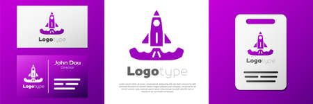 Logotype Rocket icon isolated on white background.