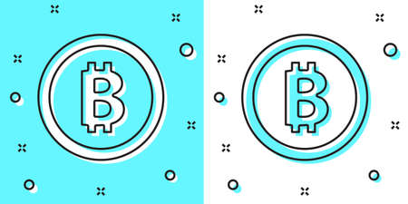 Black line Cryptocurrency coin Bitcoin icon isolated on green and white background. Physical bit coin. Blockchain based secure crypto currency. Random dynamic shapes. Vector. Illustration