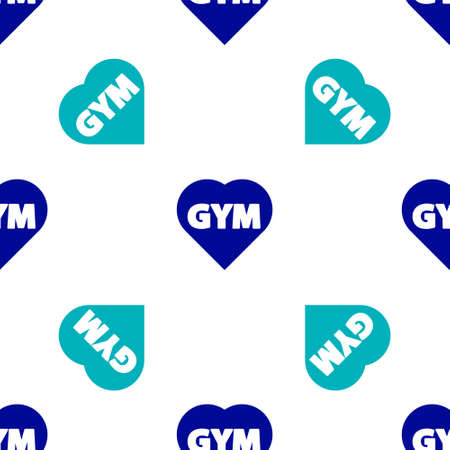 Blue Fitness gym heart icon isolated seamless pattern on white background. I love fitness. Vector.