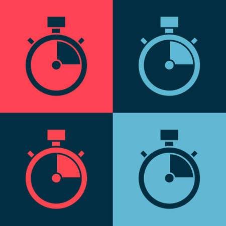 Pop art Stopwatch icon isolated on color background. Time timer sign. Chronometer sign. Vector.