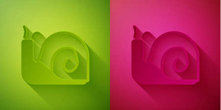 Paper cut Snail icon isolated on green and pink background. Paper art style. Vector. Иллюстрация