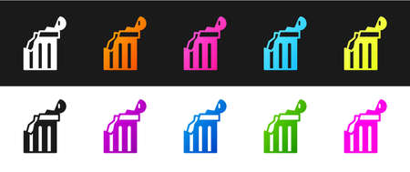 Set Broken ancient column icon isolated on black and white background. Vector.