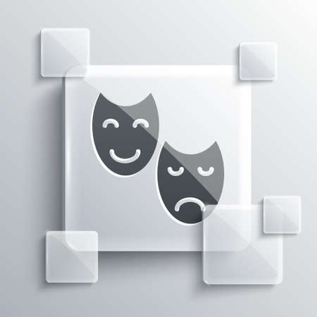 Grey Comedy and tragedy theatrical masks icon isolated on grey background. Square glass panels. Vector.