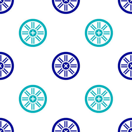 Blue Old wooden wheel icon isolated seamless pattern on white background. Vector.