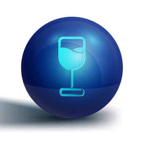 Blue Wine glass icon isolated on white background. Wineglass icon. Goblet symbol. Glassware sign. Happy Easter. Blue circle button. Vector.