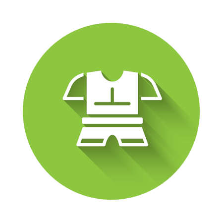 White Body armor icon isolated with long shadow. Green circle button. Vector.