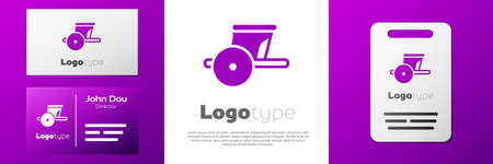 Logotype Ancient Greece chariot icon isolated on white background.