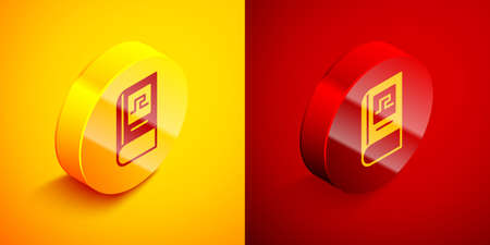 Isometric Greek history book icon isolated on orange and red background. Circle button. Vector.