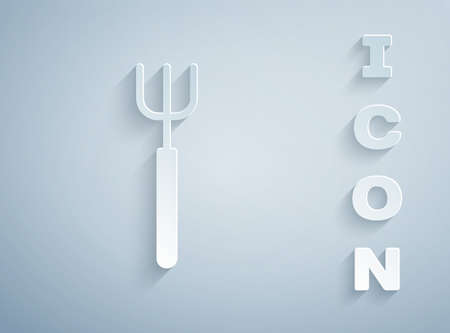 Paper cut Garden pitchfork icon isolated on grey background. Garden fork sign. Tool for horticulture, agriculture, farming. Paper art style. Vector.