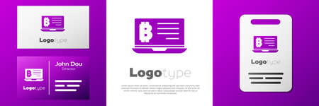 Logotype Mining bitcoin from laptop icon isolated on white background. Cryptocurrency mining, blockchain technology service. 向量圖像