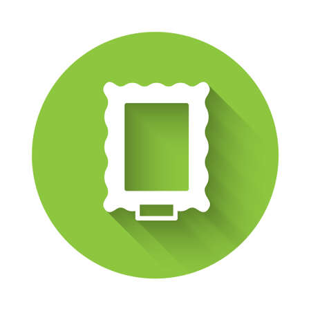 White Picture icon isolated with long shadow. Green circle button. Vector. 일러스트