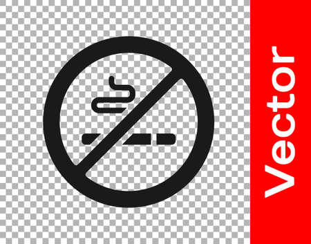 Black No Smoking icon isolated on transparent background. Cigarette symbol. Vector. 일러스트