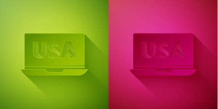 Paper cut USA United states of america on laptop icon isolated on green and pink background. Paper art style. Vector. 向量圖像