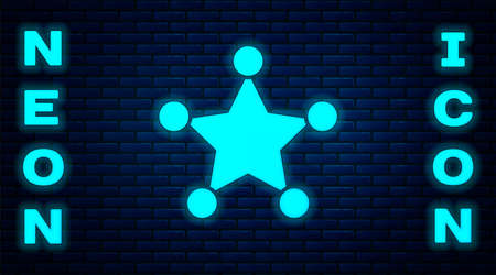 Glowing neon Hexagram sheriff icon isolated on brick wall background. Police badge icon. Vector.