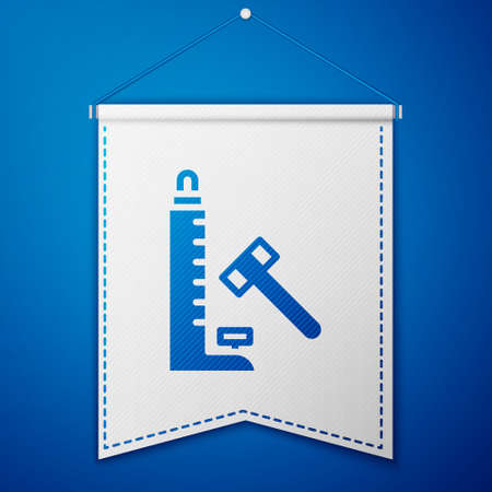 Blue High striker attraction with big hammer icon isolated on blue background. Attraction for measuring strength. Amusement park. White pennant template. Vector.