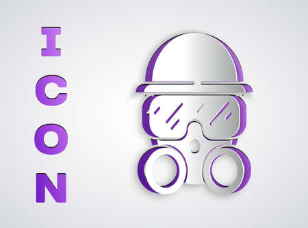 Paper cut Gas mask icon isolated on grey background. Respirator sign. Paper art style. Vector.