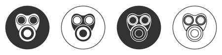 Black Gas mask icon isolated on white background. Respirator sign. Circle button. Vector. Ilustrace