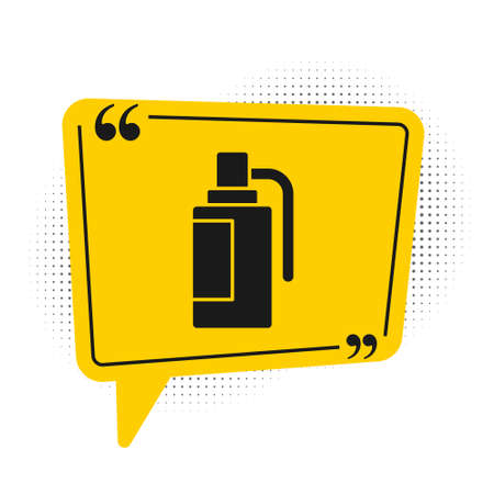 Black Hand grenade icon isolated on white background. Bomb explosion. Yellow speech bubble symbol. Vector. Ilustrace