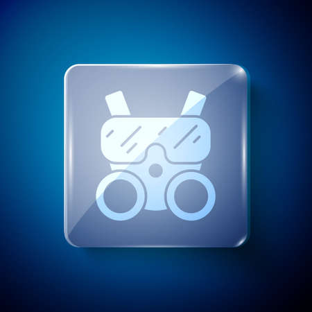 White Gas mask icon isolated on blue background. Respirator sign. Square glass panels. Vector. 일러스트