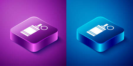 Isometric Hand grenade icon isolated on blue and purple background. Bomb explosion. Square button. Vector. Ilustrace