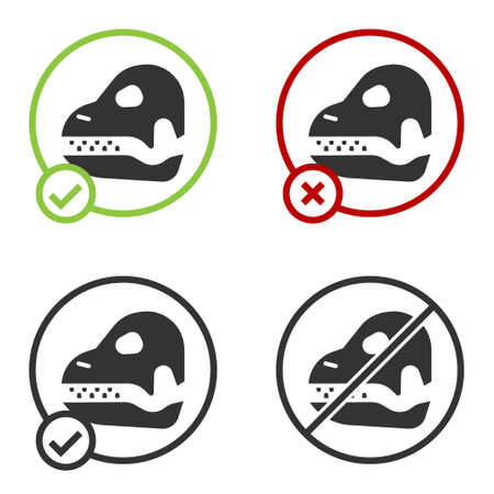 Black Dinosaur skull icon isolated on white background. Circle button. Vector.