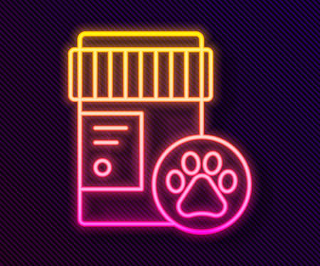 Glowing neon line Dog medicine bottle icon isolated on black background. Container with pills. Prescription medicine for animal. Vector.