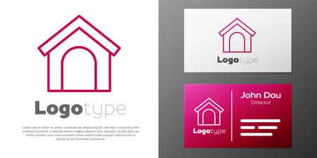 Logotype line Dog house icon isolated on white background. Dog kennel. Logo design template element. Vector. Illustration