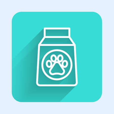 White line Bag of food for dog icon isolated with long shadow. Dog or cat paw print. Food for animals. Pet food package. Green square button. Vector.  イラスト・ベクター素材