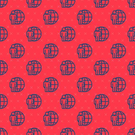 Blue line Head hunting icon isolated seamless pattern on red background. Business target or Employment sign. Human resource and recruitment for business. Vector.