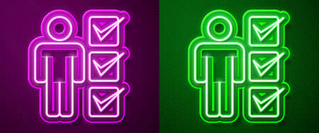 Glowing neon line User of man in business suit icon isolated on purple and green background. Business avatar symbol user profile icon. Male user sign. Vector.