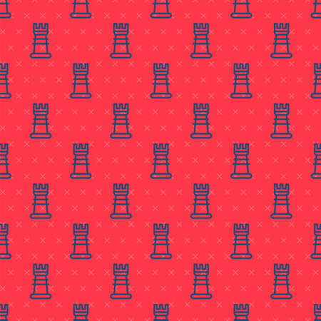 Blue line Business strategy icon isolated seamless pattern on red background. Chess symbol. Game, management, finance. Vector.