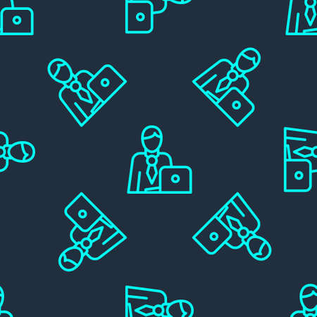 Green line Businessman icon isolated seamless pattern on blue background. Business avatar symbol user profile icon. Male user sign. Vector. 向量圖像
