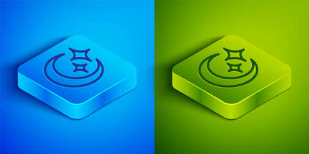 Isometric line Moon and stars icon isolated on blue and green background. Square button. Vector.