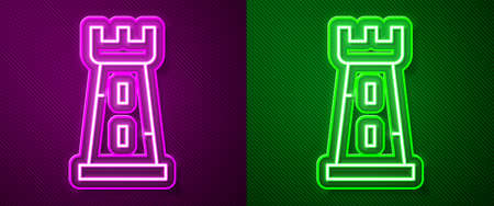 Glowing neon line Castle tower icon isolated on purple and green background. Fortress sign. Vector.
