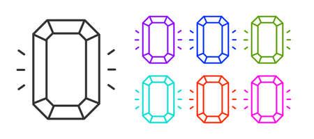 Black line Diamond icon isolated on white background. Jewelry symbol. Gem stone. Set icons colorful. Vector.