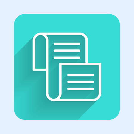 White line Decree, paper, parchment, scroll icon icon isolated with long shadow. Green square button. Vector.