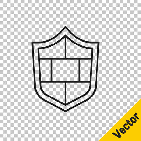 Black line Shield with cyber security brick wall icon isolated on transparent background. Data protection symbol. Firewall. Network protection. Vector. 向量圖像