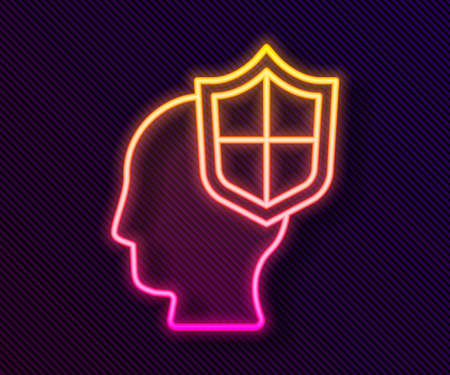 Glowing neon line Human head with shield icon isolated on black background. Vector.