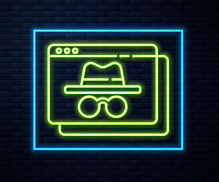 Glowing neon line Browser incognito window icon isolated on brick wall background. Vector.