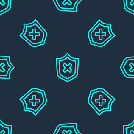 Green line Shield with cross mark icon isolated seamless pattern on blue background. Shield and rejected. Notice of refusal. Vector.