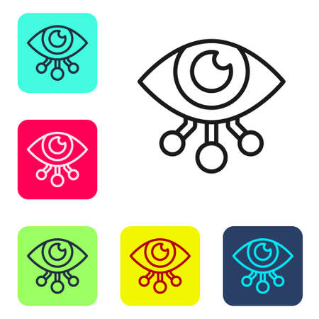 Black line Eye scan icon isolated on white background. Scanning eye. Security check symbol. Cyber eye sign. Set icons in color square buttons. Vector.