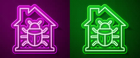 Glowing neon line House system bug concept icon isolated on purple and green background. Code bug concept. Bug in the system. Bug searching. Vector.