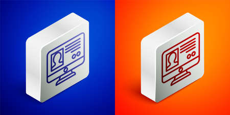 Isometric line Create account screen icon isolated on blue and orange background. Silver square button. Vector. 向量圖像