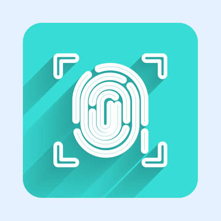 White line Fingerprint icon isolated with long shadow. ID app icon. Identification sign. Touch id. Green square button. Vector.
