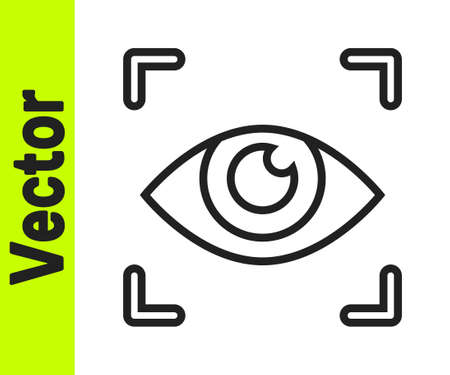 Black line Eye scan icon isolated on white background. Scanning eye. Security check symbol. Cyber eye sign. Vector. 向量圖像