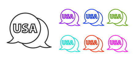 Black line USA label icon isolated on white background. United States of America. Set icons colorful. Vector.