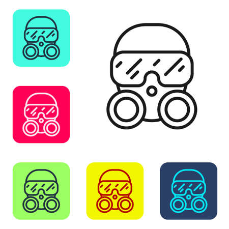 Black line Gas mask icon isolated on white background. Respirator sign. Set icons in color square buttons. Vector. Ilustrace