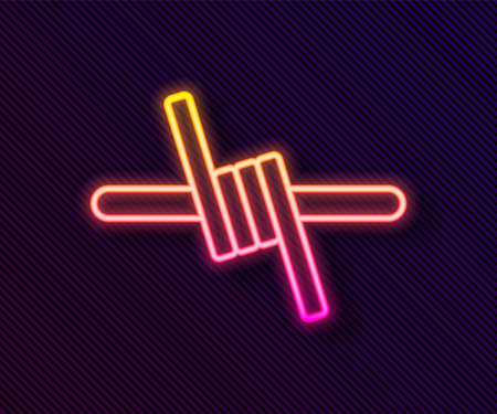 Glowing neon line Barbed wire icon isolated on black background. Vector.