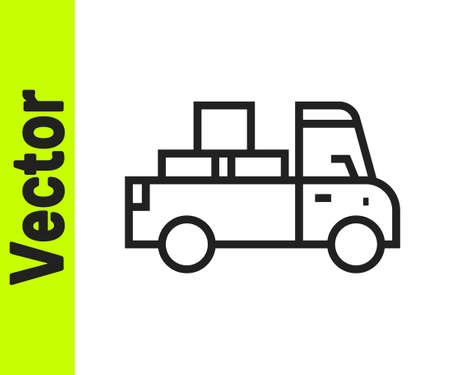Black line Delivery truck with cardboard boxes behind icon isolated on white background. Vector.