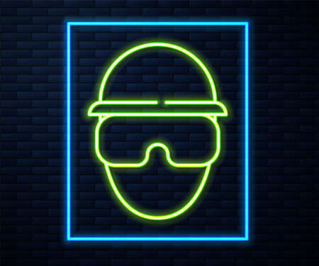 Glowing neon line Special forces soldier icon isolated on brick wall background. Army and police symbol of defense. Vector.
